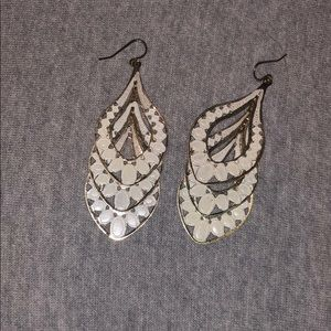 White and Gold Dangle Earrings